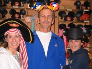 Trying on Hats at WDW