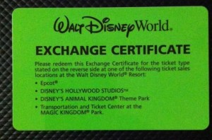 Exchange Certificate for Disney Annual Pass
