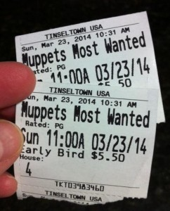 Muppets Most Wanted Ticket Stub