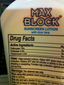 Max Block Sunscreen Label