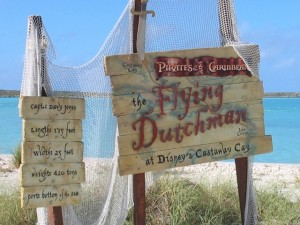 Sign for the Flying Dutchman on Castaway Cay