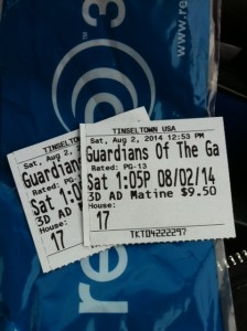Tickey stubs / Guardians of the Galaxy