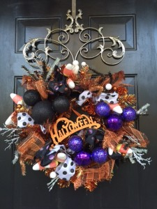 Halloween Wreath on the Door