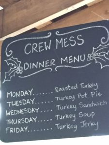 Jingle Cruise Crew Mess Dinner Menu